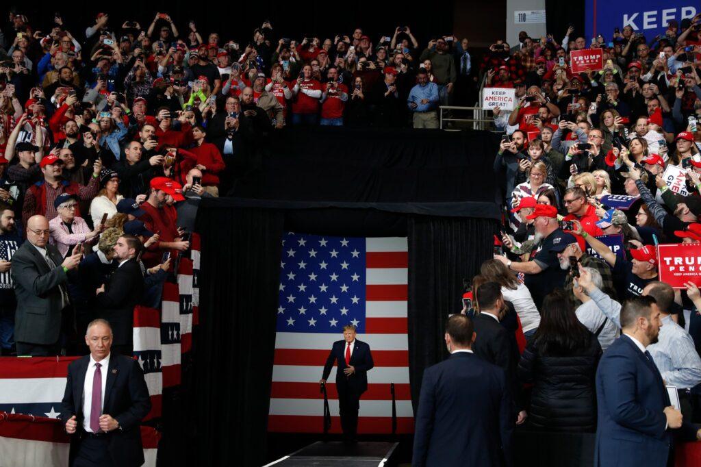 Ο πρόεδρος των Ηνωμενων πολιτειων κατα τη διάρκεια μιας προεκλογικής ομιλίας του. AP 2020 Photo/ Jacquelyn Martin